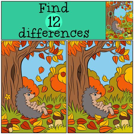 Illustration pour Children games: Find differences. Little cute hedgehog lays near big tree. Autumn. - image libre de droit