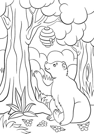 Ilustración de Coloring pages. Wild animals. Cute bear looks at the hive with honey and smiles. - Imagen libre de derechos