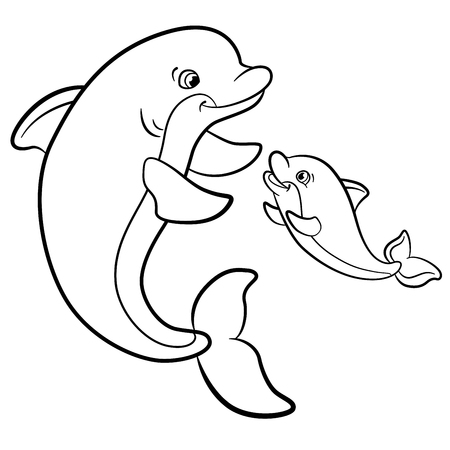 Illustration pour Coloring pages. Marine wild animals. Mother dolphin swims with her little cute baby dolphin. - image libre de droit