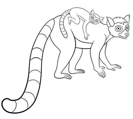 Coloring Pages. Three Little Cute Lemurs. Stock Vector ... | 402x450