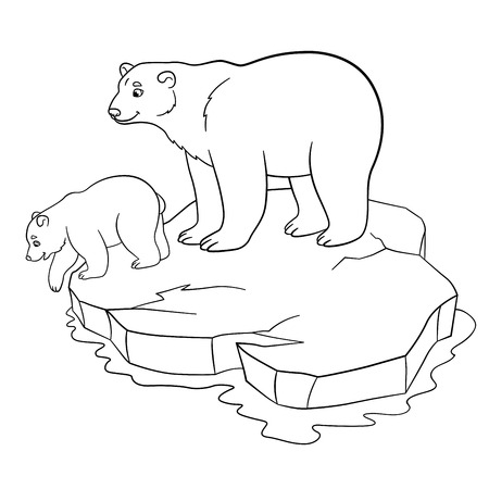 Coloring Pages Mother Polar Bear Stands On The Ice Floe With Her