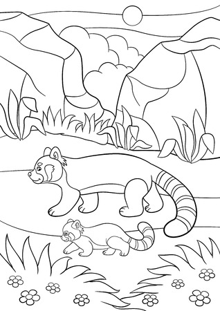 Coloring Pages. Mother Red Panda With Her Cute Baby Stock Vector ... | 450x318