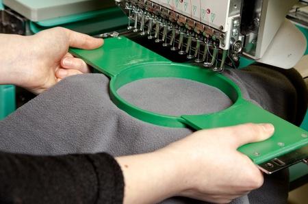 Photo pour Textile embroidery machine in Textile Industry - image libre de droit
