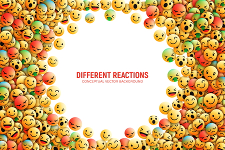 Illustration pour Modern 3D Design Vector Emoji Icons with Different Reactions for Social Network Conceptual Art Illustration Isolated on White Background - image libre de droit