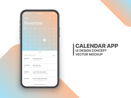 Illustration pour Calendar App Concept November 2019 Page with To Do List and Tasks UI UX Design Mockup Vector on Frameless Smartphone Screen Isolated on White Background. Planner Application Template for Mobile Phone - image libre de droit