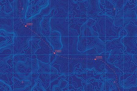 Illustration pour Conceptual Vector Sea Depth Topographic Map - image libre de droit