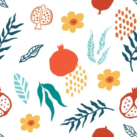 Illustration pour Pomegranate seamless pattern with leaves, flower. Floral vector illustration of abstract doodle and scandinavian fruits. Garnet armenian pattern. The elegant the template for fashion prints. - image libre de droit