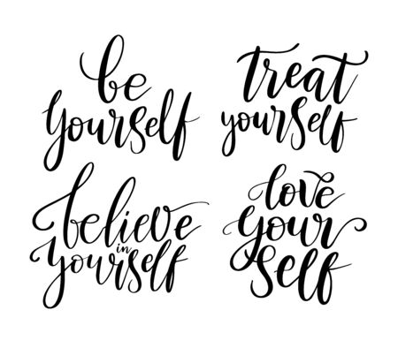 Illustration pour Love yourself, treat, believe - vector quotes. Positive motivation quote set for poster, t-shirt print. Be yourself calligraphy inscription. Vector illustration isolated on white background. - image libre de droit