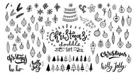 Illustration for Christmas doodle set. Christmas tree, toys, balls and garland. Hand drawn xmas decorations icons. Vector illustration isolated on white background. Design elements for holiday greeting card, gift tag. - Royalty Free Image