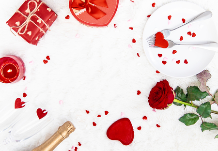 Photo for Valentine's Day. Beautiful background greeting card with a rose. Selective focus. Holiday. - Royalty Free Image