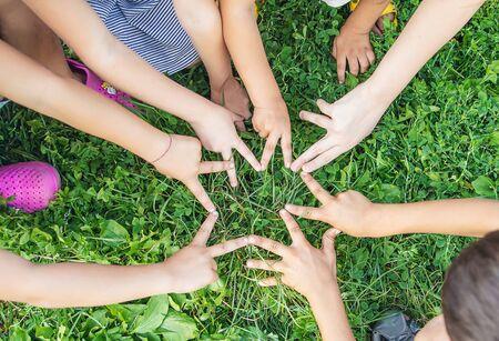 Photo pour children's hands together on a background of grass. Selective focus. nature. - image libre de droit