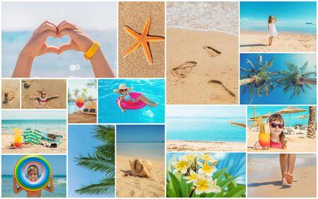 Photo pour Travel concept collage. Sea vacation. Selective focus. nature - image libre de droit