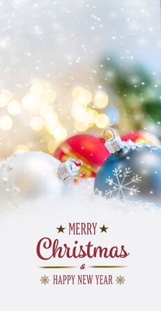 Photo for Merry Christmas and Happy New Year, Holidays greeting card with blurred bokeh background. - Royalty Free Image