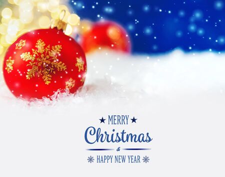 Photo pour Merry Christmas and Happy New Year, Holidays greeting card with blurred bokeh background. - image libre de droit