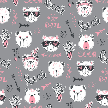 Illustration pour Vector fashion bear seamless pattern. Cute teddy illustration in - image libre de droit