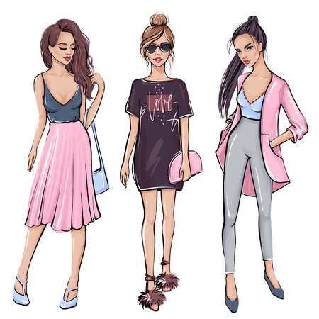 Illustration for Stylish girl in fashion clothes. Hand drawn beautiful girl. Fashion women. Sketch style. Vector illustration. Beautiful young woman with long hair. - Royalty Free Image