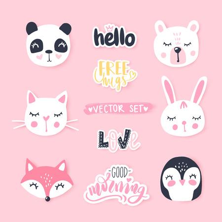 Illustration for Vector set with cute cartoon animals - bear, panda, bunny, penguin, cat, fox. - Royalty Free Image