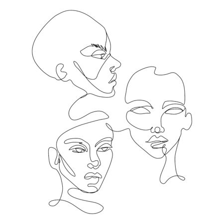 Illustration pour Continuous line vector drawing. Set of faces silhouettes. Abstract portrait. - image libre de droit