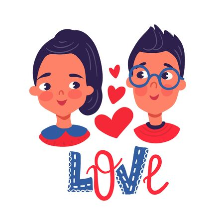 Illustration for Happy Valentine's Day. Greeting Card with cute couple, hearts, flowers. Boy and girl in love. 14 February. Vector stock illustration in cartoon style. Love day. - Royalty Free Image