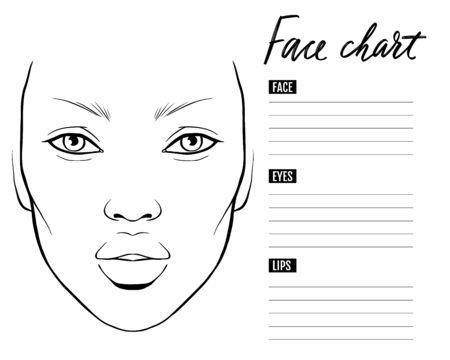 Illustration pour Face chart Blank. Makeup Artist Vector template. - image libre de droit