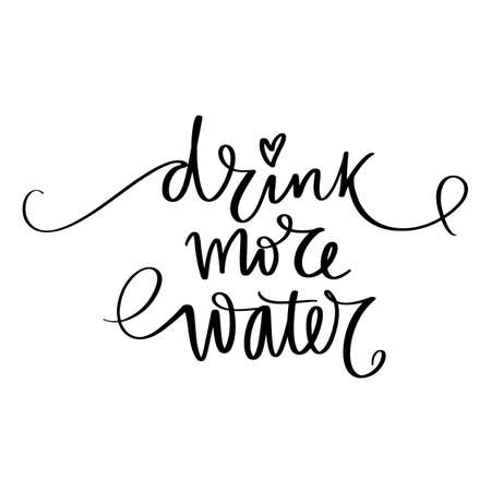 Illustration pour Drink water vector handwritten lettering quote. Typography slogan. Hand sketched phrase. Healthy lifestyle, blue poster, hydrate motivation. - image libre de droit