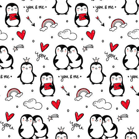 Illustration for Penguin vector seamless pattern. Funny animals background. Cartoon hand drawn texture with cute characters. Doodle style. - Royalty Free Image