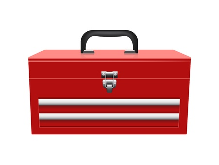 closed red toolbox isolated on white background