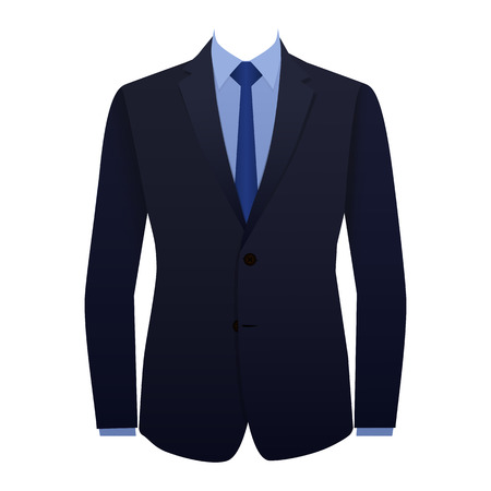 Blue business suit with a tie