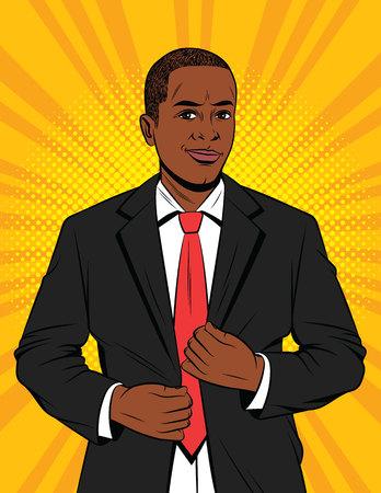 Ilustración de Vector color pop art style illustration of a businessman in suit. A handsome African-American guy in a black jacket. Happy successful Office manager - Imagen libre de derechos