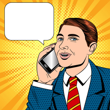 Ilustración de Vector color pop art comic style illustration of a young man talking on a cell phone. Businessman with phone in hand. The seller is talking on the mobile phone. An office worker is talking by phone - Imagen libre de derechos