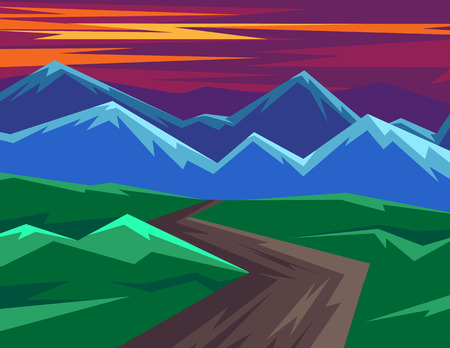Illustration pour Color vector illustration in flat style. Horizontal landscape with mountain views. Dawn of the sun in the mountains. Silhouettes of mountains against the pink sky - image libre de droit