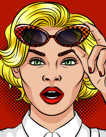 Illustration pour Color vector illustration of a girl in her mouth. Beautiful girl with blonde hair. Girl holds vintage glasses. Emotional female face. Beautiful business woman - image libre de droit