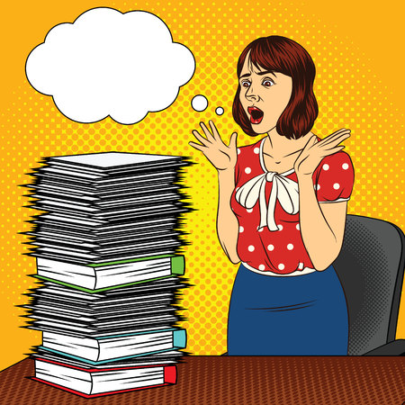 Ilustración de Color vector pop art comic style illustration of a girl in the office. The girl at the desk. Busy woman doing office work. Worker with a lot of documents on the table. Women's stressful face - Imagen libre de derechos