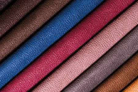 Photo pour A set of samples of fabric furniture decoration lines of textile textures. Multicolored stripes upholstery. Tone for a luxurious interior style. Abstract background - image libre de droit