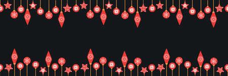 Ilustración de Cute seamless border with Christmas baubles. Funny simple pattern with Xmas decoration. Vector illustration. - Imagen libre de derechos