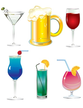 An illustrated set of fancy drink cocktails isolated on white