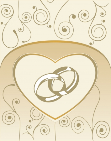 Wedding card with heart and wedding rings