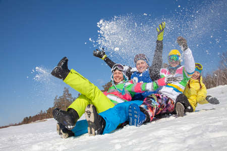 Photo for group of friends have a good time in winter resort - Royalty Free Image