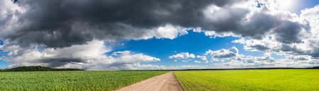 rural landscape view from field and road. panoramic view of agricultural fields with wheat and rye. panorama from sky and dark storm clouds. panoramic view moody sky