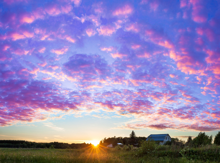 beautiful rural summer landscape panorama with sunset. purple scenery with clouds in sky, panoramic view