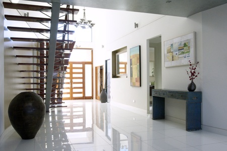 staircase and atrium of a modern luxury house