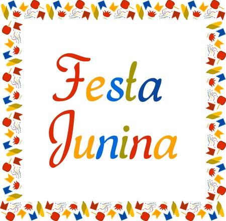 Illustration pour Square multi colored banner for Festa Junina. Brazil Festival in June. Small flags, corn, confetti, caramel apples and bonfires. Vector. - image libre de droit