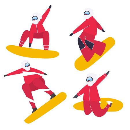 Illustration for Sporting Santa. Snowboarding Santa Claus isolated. Christmas and New Year greeting flat illustration - Vector - Royalty Free Image