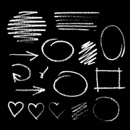 Collection of graphic elements. Handdrawn chalk sketch on a blackboard. Arrows, frames, strokes and hearts