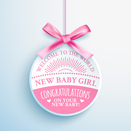 Illustration for Bright pink congratulatory label for newborn baby girl - Royalty Free Image