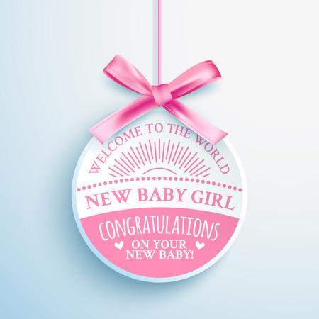 Bright pink congratulatory label for newborn baby girl