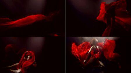 Photo pour woman wearing red dress is floating underwater in dark aquarium, artistic collage shot - image libre de droit