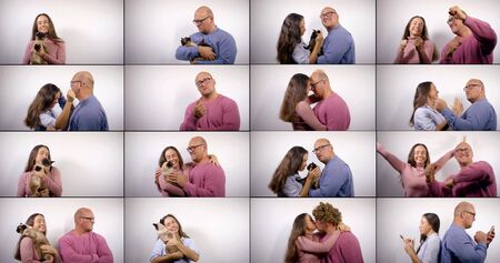 Photo for portraits of middle-aged man and woman, multi shots collage, casual style - Royalty Free Image