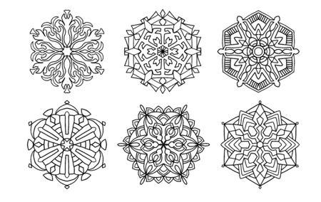 Illustration pour set of vector black mandalas. Mandal design for coloring, graphic design, decor - image libre de droit