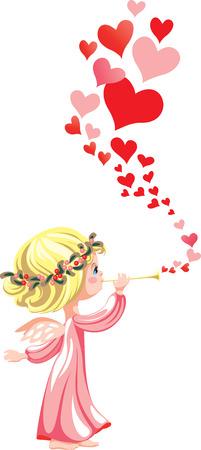 Ilustración de Angel in pink, playing on a pipe a love melody - Imagen libre de derechos